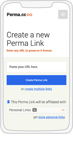 Perma.cc capture page illustrated in a phone display